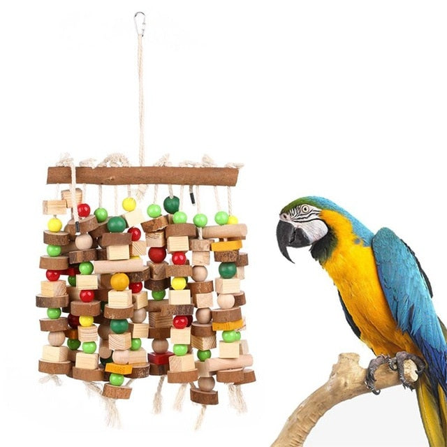 HHO-Bird Chewing Toy Large Medium Parrot Cage Bite Toys African Grey Macaws
