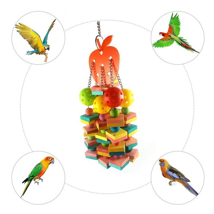 Large Medium Parrots Bite Toys Natural Wood Bird Chewing Toy