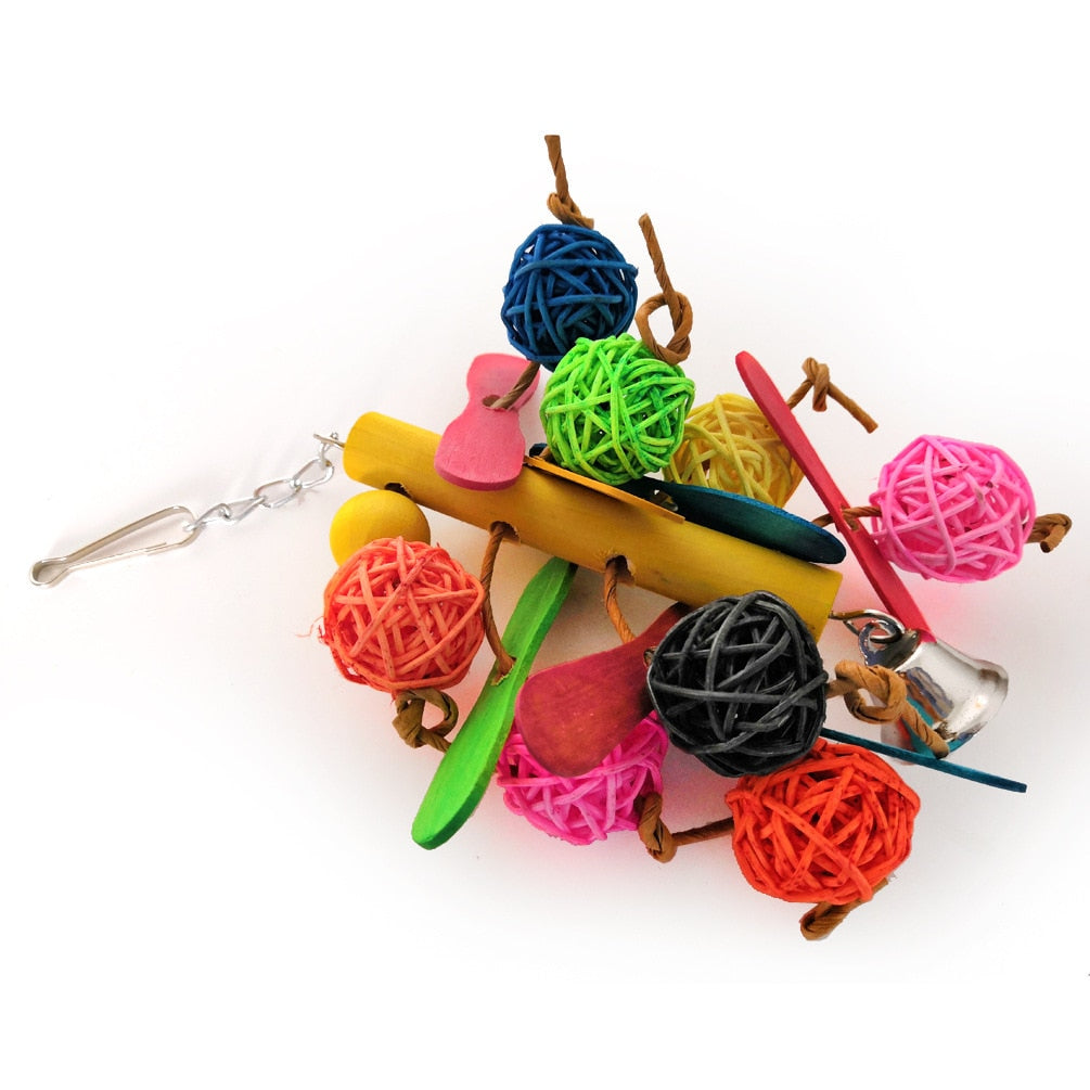 Small and Medium Parrot Toy Bird Toy Cylindrical Rattan Ball Colorful Wood Climbing