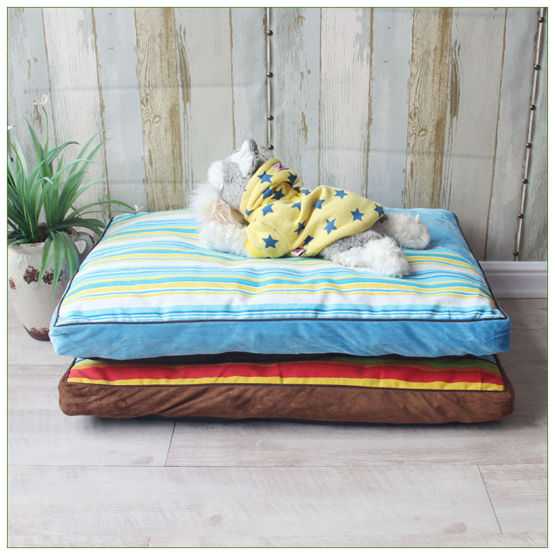 Homie Thick Canvas Striped Dog Bed Mats Pillow Top Orthopedic Couch