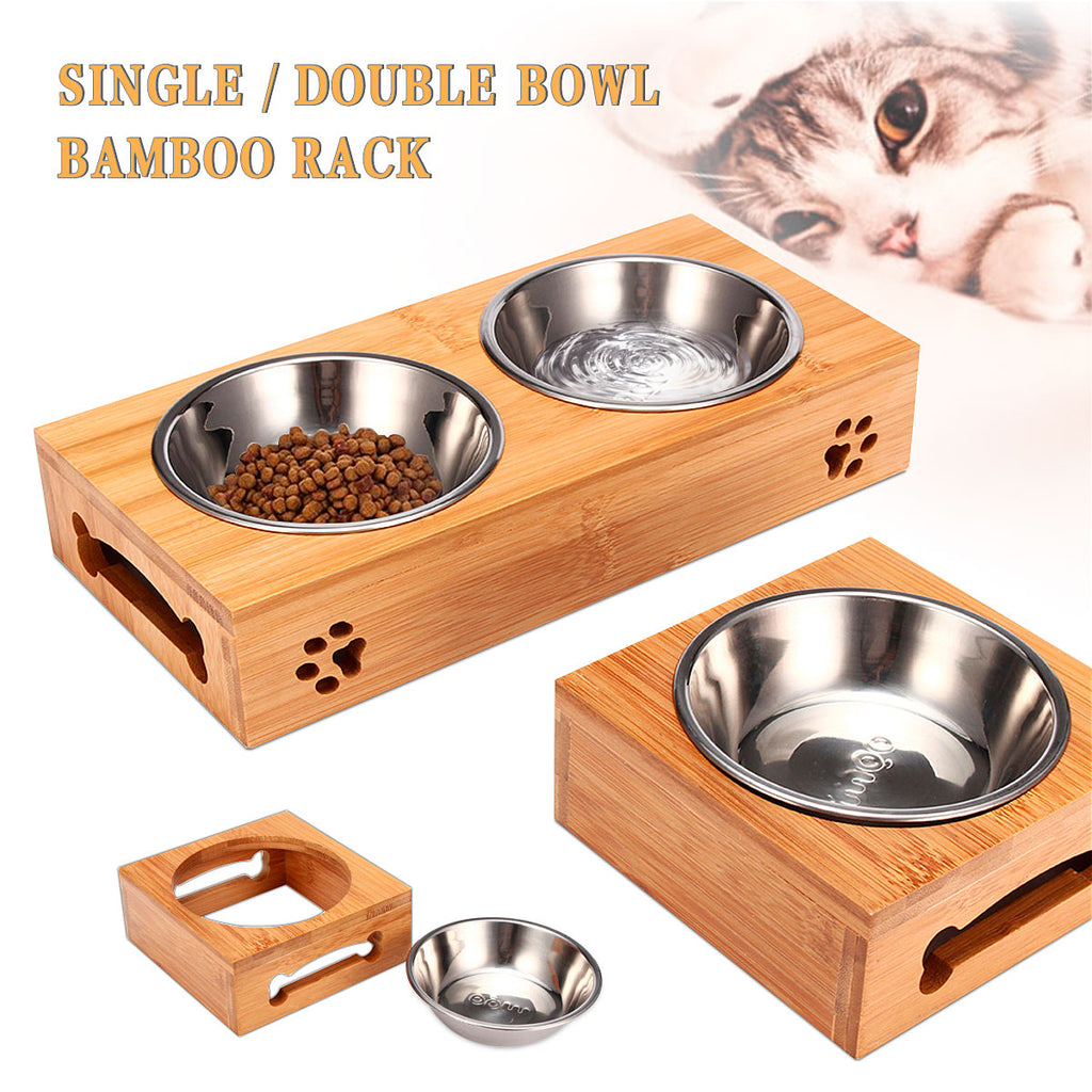Double Single Dog Bowls for Pet Puppy Stainless Steel Bamboo Rack Food Water Bowl Feeder Pet Cats