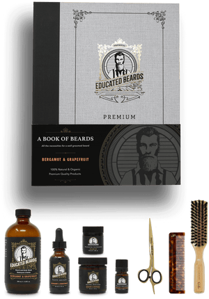 Bergamot & Grapefruit Book of Beards /  Premium Beard Kit 8 items | Educated Beards