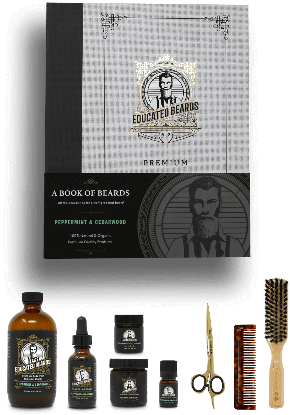 Peppermint & Cedarwood premium beard grooming kit