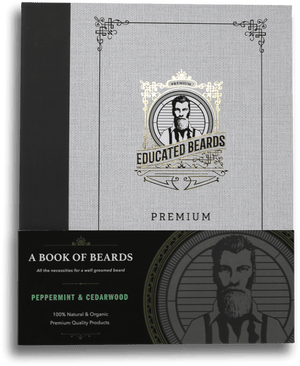 Peppermint & Cedarwood Book of Beards /  Premium Beard Kit 8items | Educated Beards