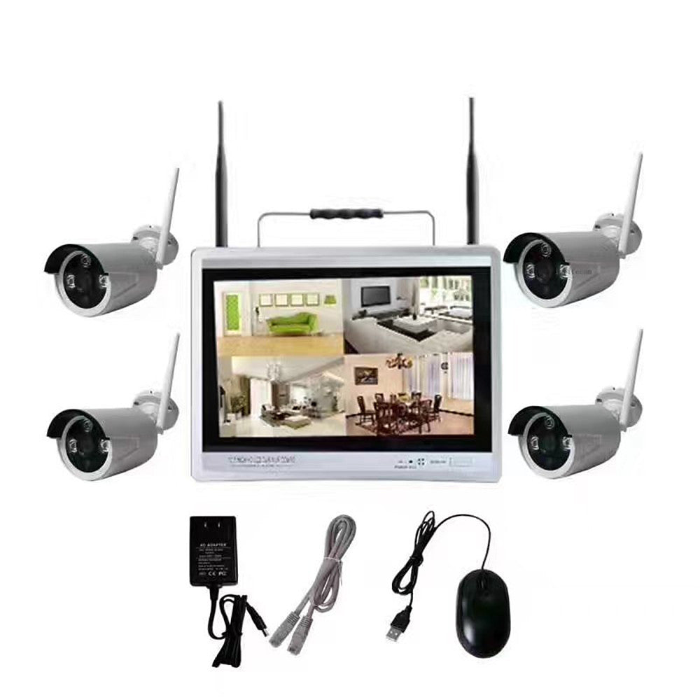 4ch 1080P 12LCD Screen Monitor Wireless nvr kit Security system Wifi Ip Kit