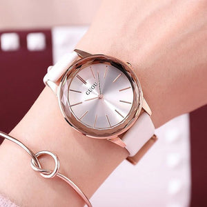 Top Guou Brand Simple Style Crystal  Purple Genuine Leather Quartz Bracelet Wrist Watch For Women Girls