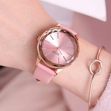Load image into Gallery viewer, Top Guou Brand Simple Style Crystal  Purple Genuine Leather Quartz Bracelet Wrist Watch For Women Girls