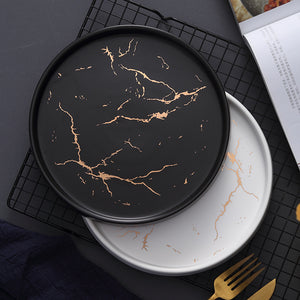 Gold Black White Marble Ceramic Plate Porcelain dinnerware Set Kitchen Table European Style Decoration Dessert Steak Plate