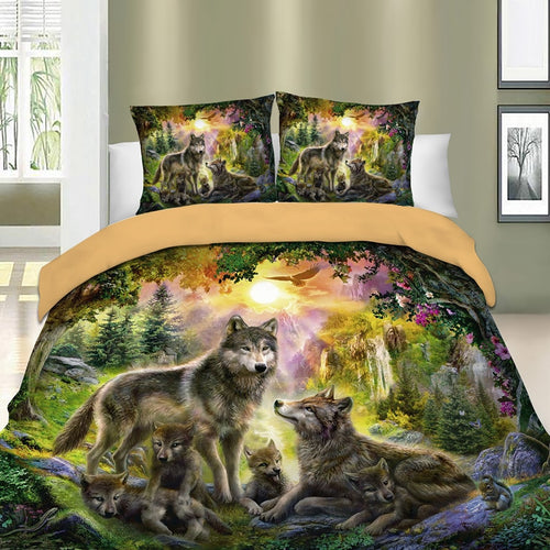 3D Bed Linens Set Duvet Quilt Cover Wolf Animal Printed Single Twin Full Queen King Euro Bed Cover Bedding Sets Pillowcases 3pcs