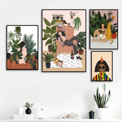 Abstract Fashion Vintage Girl Tiger Leaves Wall Art Canvas Painting Nordic Posters And Prints Wall Picture For Living Room Decor