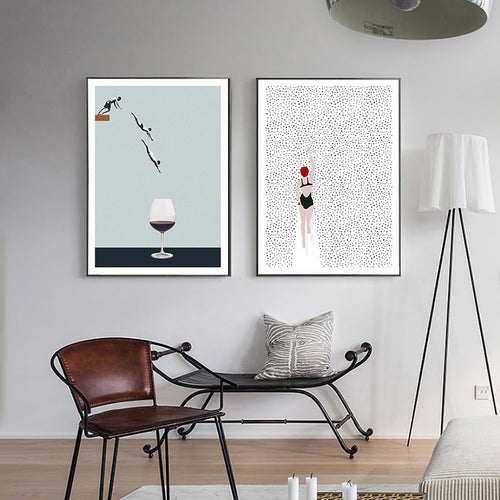Abstract Nordic Poster Swim Wine Glass Canvas Painting Wall Art Pictures For Living Room Modern Decorative Prins On The Wall
