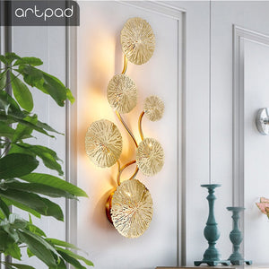 Artpad Copper Lustre Gold Lotus Leaf Wall Lamp Vintage Retro Bedside Living Room Art Decor Home Lighting Wall Sconces G4 Bulb