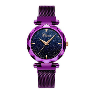 Fashion Chenxi Top Brand Luxury Ladies Quarts Women Watch Purple Wrist New Starry Sky Dial Clock Relogio Feminino Reloj Mujer