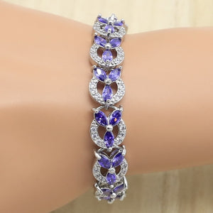 Geometric Silver 925 Jewelry Set for Women Purple Zircon Bracelet Earrings Necklace Pendant Ring Birthday Gift