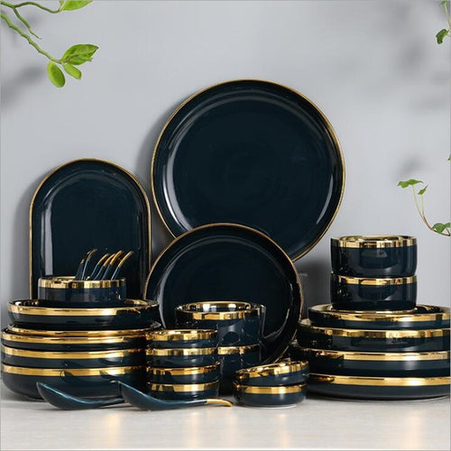Gilt Rim Dark green Porcelain Dinner Plate Set Kitchen Plate Ceramic Tableware Food Dishes Rice Salad Noodles Bowl Mug Cutlery