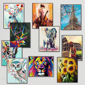 HOT Frame DIY Oil Painting By Numbers Wall Art Canvas Pictures DIY Drawing For Wedding Decoration Canvas Painting For Home Decor