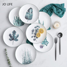 Load image into Gallery viewer, JO LIFE  Nordic Kitchen Tableware 8-Inch Ceramic Plate Green Plant Dish Creative Tray Dessert Plate
