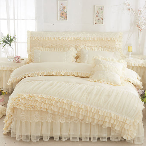 Korean Style Home Textile Bedding Beige Princess Lace Duvet Cover Set Bed Skirt Pillow cases Wedding Bedclothes King Queen Size
