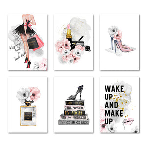 Lipstick Perfume High Heels Fashion Poster Makeup Floral Print Canvas Art Painting Wall Picture Modern Girl Room Home Decoration