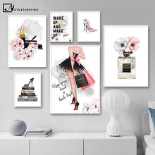 Load image into Gallery viewer, Lipstick Perfume High Heels Fashion Poster Makeup Floral Print Canvas Art Painting Wall Picture Modern Girl Room Home Decoration