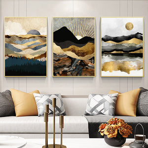 frame Nordic style Wall art Abstract sunrise oil painting canvas poster boho decor Still life canvas painting for living room