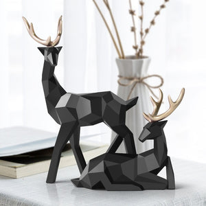 Nordic Figurines Deer Statue Geometric Resin Home Decor Statues Deer Figure Sculpture Modern Decoration Abstract Home Decoration