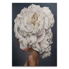 Load image into Gallery viewer, Nordic Floral Feather Woman Abstract Fashion Style Canvas Painting Art Print Poster Picture Wall Living Room Home Decor