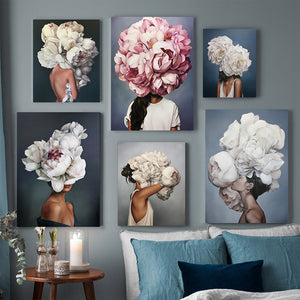 Nordic Floral Feather Woman Abstract Fashion Style Canvas Painting Art Print Poster Picture Wall Living Room Home Decor
