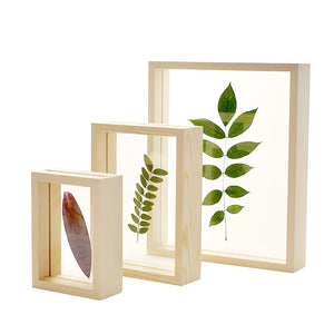 Nordic Style Dried Flower Leaves DIY Pressed Plant Picture Frames Double Side Glass Wooden Frame Home Decoration Wall Art