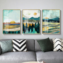 Load image into Gallery viewer, Nordic Sunrise Sunset canvas painting landscape posters and print unique decor wall art pictures for living room bedroom aisle