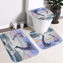 Load image into Gallery viewer, Ocean Design Dolphin 4 In 1 Waterproof Fabric Bathroom 3D Shower Curtain Set with Non Slip Toilet Cover Rugs Mat Home Decoration