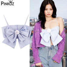 Load image into Gallery viewer, Pinkoz  Purple Jacket Spaghetti Strap Crop Top Women Runway Elegant Pink Blue Bow Backless Streetwear Cropped Tank