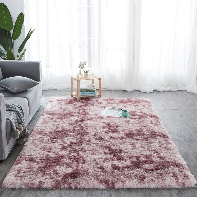 RULDGEE Shaggy Tie Dye Carpet Printed Plush Floor Fluffy Mats Kids Room Faux Fur Area Rug Living Room Mats Silky Rugs