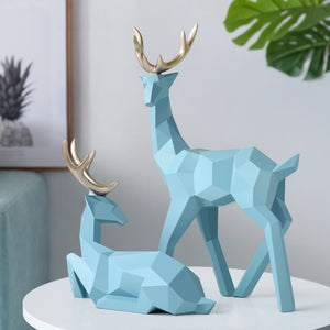 Sculpture Deer Statue Nordic Decoration Home Decor Statues Geometric Resin Deer Figurines Modern Decoration Abstract Decorative