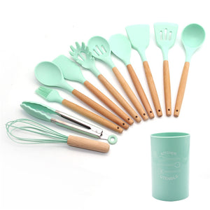 Silicone Cooking Utensils 11/12/13Pcs Kitchen Utensil Set Non-stick Spatula Wooden Handle with Storage Box Kitchen Tools Gray