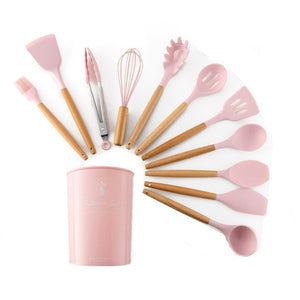 Silicone Cooking Utensils 9/11/12Pcs Kitchen Utensil Set Kitchen Tools Gray Non-stick Spatula Wooden Handle with Storage Box
