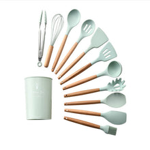 Load image into Gallery viewer, Silicone Cooking Utensils 9/11/12Pcs Kitchen Utensil Set Kitchen Tools Gray Non-stick Spatula Wooden Handle with Storage Box