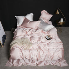 Load image into Gallery viewer, SlowDream Beauty 100% Silk Pink Bedding Set Best For Skin Care Duvet Cover Flat Sheet Pillwocase Queen King For Women Bed Set