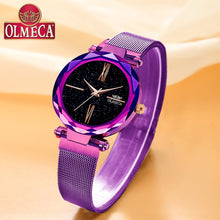 Load image into Gallery viewer, Luxury Watches OLMECA Waterproof Wrist Watch Reloj Mujer Water Resistant Quartz Analog Women Watch Casual Purple Color