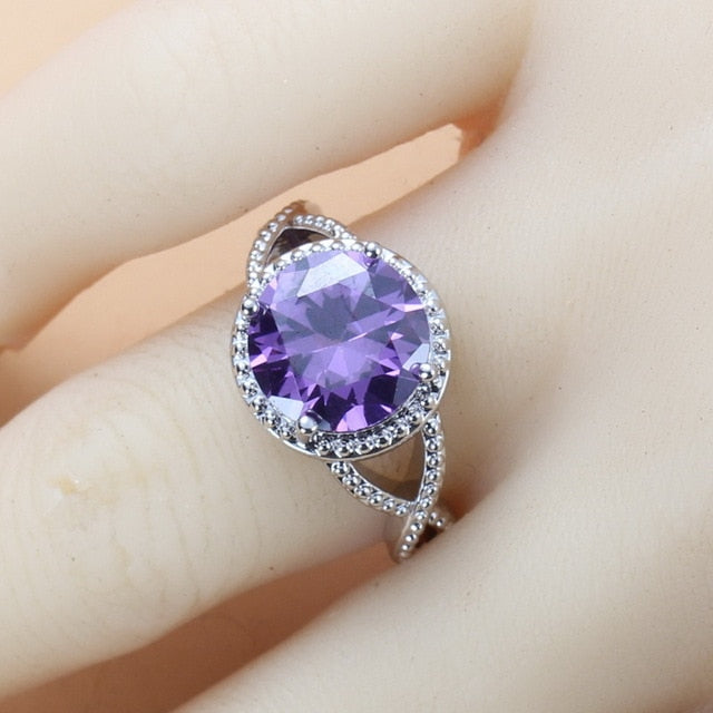 Young Girl/Lady Lovely Wedding Sets Round Purple Crystal CZ Earrings Necklace And Ring 925 Sterling Silver Jewelry Sets For Women 10-Color Jewelry
