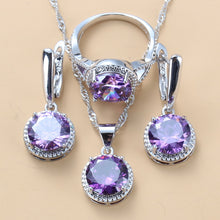 Load image into Gallery viewer, Young Girl/Lady Lovely Wedding Sets Round Purple Crystal CZ Earrings Necklace And Ring 925 Sterling Silver Jewelry Sets For Women 10-Color Jewelry
