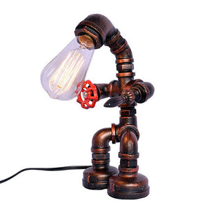 Retro Industrial Wind Desk Light Iron Pipe Table Lamp For Study Room / Office / Indoor Metal 220V