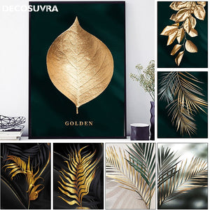 nordic poster and prints wall art Gold Leaf modern abstract canvas painting golden plant leaves decorative picture for bedroom