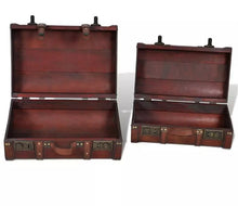Load image into Gallery viewer, Vintage Brown Wooden Treasure Chest 2Pcs Set
