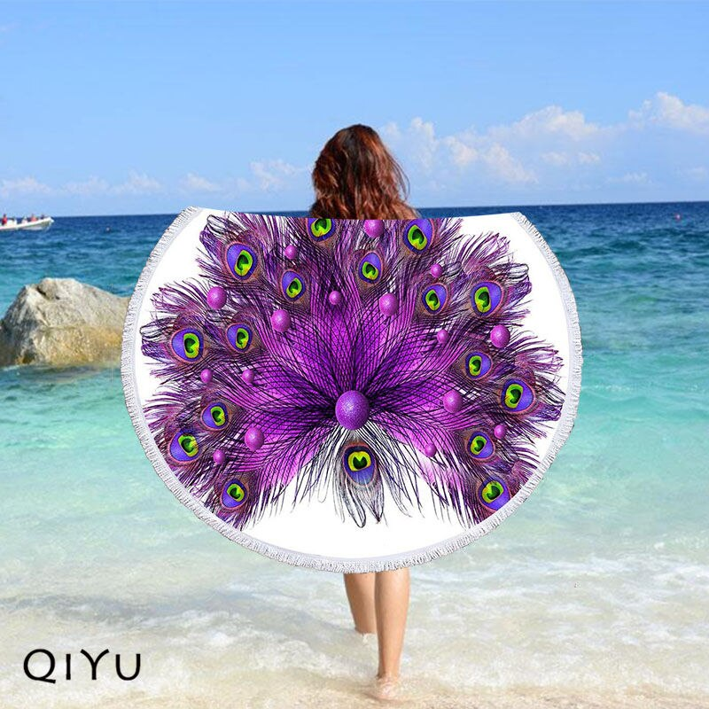 Purple Peacock Feathers Round Beach Towel Microfiber Bath Towel Yoga Mat Tassels Blanket Gift Home Decor 002, free shipping