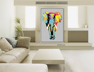 Hand-Painted Contemporary Elephant Wall Pop Art Abstract Oil Painting on Canvas