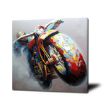 Palette knife motorcycle oil painting on canvas