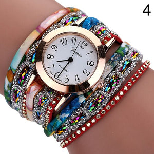 New Woman's Wrist Watch Rhinestone Rivet Multilayer Analog Quartz Dress Bracelet Wrist Watch