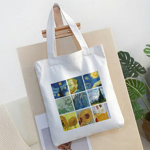 Nine Grid Van Gogh Flower Letter Cartoon Print Shoulder Canvas women Bag Handbag Harajuku Casual Ulzzang Fun Large Capacity Bags