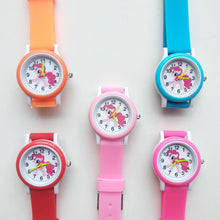 Load image into Gallery viewer, Cartoon Rainbow Unicorn Style Round Dial Children's Watches Kids Watch Student Boys Girls Clock Quartz Wrist Watch Baby Pony Toy